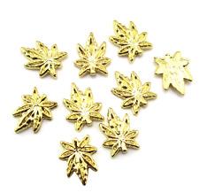 Weed Gold Nail Charms Marijuana Cannabis 420 Nail Art Decoration 10pcs lot