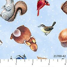 Magic of Christmas Cotton Quilt fabric by Northcott Baby Animals on Blue