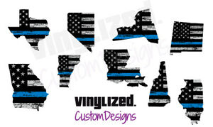 Back Thin Blue Line US Flag State Police LEO Quality Vinyl Sticker Decal TBL