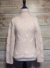 Brunello Cucinelli 100% Cashmere Light Pink Crochet Mock Neck Sweater Small
