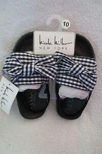 Nicole Miller Girl Sandal Bow Black Navy Blue Size 10 New