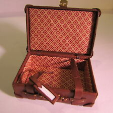 Suitcase ~ BROWN LEATHER ~ LINED ~ WORKING BUCKLES ~ Doll House Miniature ~ 1:12