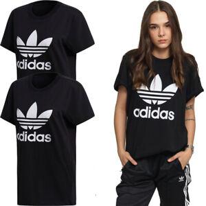 Adidas Womens T Shirt TShirt Sports Crew Top Gym Trefoil Low Logo T-Shirt Black