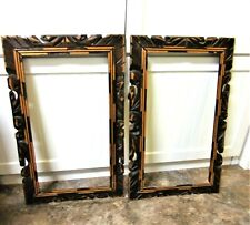 """Twin Vintage Carved Wood Frames Mid Century 23.75"""" x 14.75"""" Image 20.25""""x11 .25"""""""