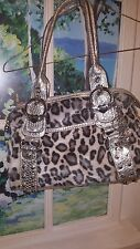 Kathy Van Zeeland Purse Silver and leopard faux fur, medium shoulder bag