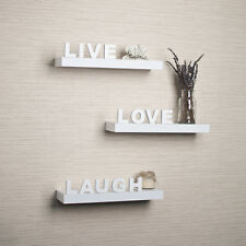"Danya B™ Decorative ""Live"" ""Love"" ""Laugh"" White Wall Shelves (Set of 3) YU075W"