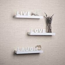 "Danya B™ Decorative ""Live"" ""Love"" ""Laugh"" White Wall Shelves (Set of 3) YU075W"