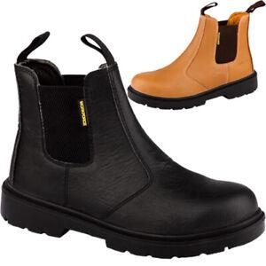 Mens Leather Chelsea Safety Boot Steel Toe Cap Lightweight Dealer Work Boot Shoe