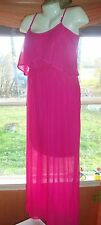 WOMENS M DRESS MAXI LONG HOT PINK HI LO SPAGETTI SLEEVELESS FORMAL PROM GOWN 7 9