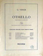 Partition alt partitur sheet music = G. Verdi - Othello morceaux chant et piano