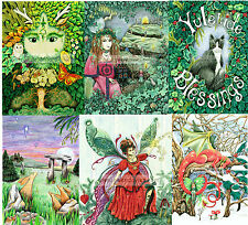 Set of Six Yule Christmas cards UK artist dragon cat Wiccan Steampunk snow fairy
