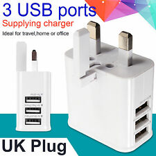 USB 3 X Ports Multiple Power Adapter AC Charger Travel Wall UK Plug White