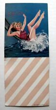 1940s Pin Up Girl Picture Blotter by Al Buell Oh Chute Blond on Waterslide