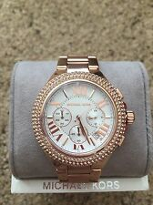 NWT MICHAEL KORS  Women's Chronograph Camille Rose Gold-Tone Watch 43mm MK5636