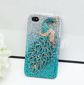 For Mobile Phones Bling Lovely Metal Aquamarine Peacock Rhinestones Hard Case