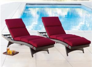 Sunbrella Chaise Lounge Cushion 2-pack, Spectrum Brick (0967)