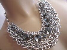 STRASS Collier Damen Hals Kette Modekette Statement Blogger Schwarz Silber BR137