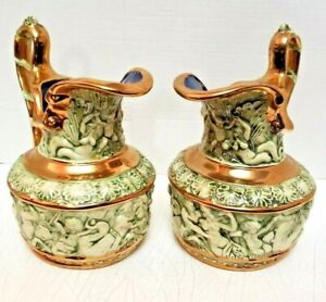 Pair of Rare Antique Hand Painted Neoclassical Vases Ewers Pitcher Signed ELB