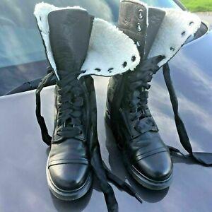 Dr Martens 1914 triumph black shearling leather boots UK 8 EU 42