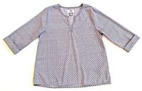 EUC Old Navy Girls L 10 12 Silky Soft Steel Blue Print Popover Tunic Blouse Top