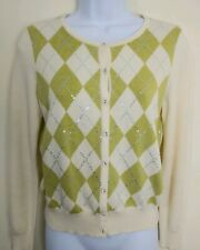 Talbots Women's Cream Green Argyle Button Down Sequence Sweater Size PS