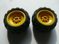 Lego 2 roues jaunes set 8414 8453 8151 8248 / 2 yellow wheels w/ tires