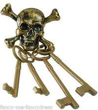 Mens Ladies Gold Skeleton Keys Pirate Fancy Dress Costume Outfit Accessory Prop