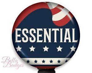 Essential American Frontline Worker Badge Reel ID Holder Nametag Pull Clip
