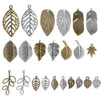 50pc/100g Tibetan Alloy Leaf Pendants Antiqued Large Dangle Charms Craft 19~47mm