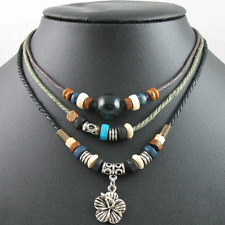 Adjustable Surfer Tribal Beads Beaded Hemp Necklace Choker Mens Womens Flower