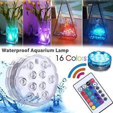 10LEDs Tauchlampe Mehrfarbig RGB Wasserdicht Lichter mit Batterie Fernbedienung