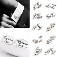 Wedding Cufflinks Groom Best man SILVER cuff link usher pageboy Brides Son