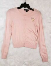August Silk Small Pink Cardigan Sweater Button Front Jeweled Thin Knit Large