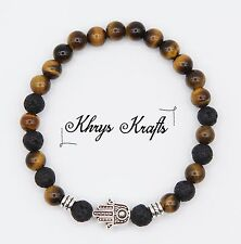 Tibetan Silver Hamza Hand, Tiger Eye and Lava Natural Gemstone Beaded Bracelet