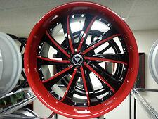 20 X 8.5 4 new Wheels Rims Tires White Diamond Edition # 0016 Black Red Lip NICE