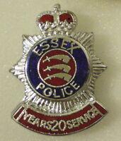 ESSEX POLICE 20 YEARS SERVICE Enamel Lapel Pin Badge