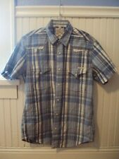 LUCKY BRAND SPORTSWEAR COWGIRL BLUE WHITE CHECKERED PEARL BUTTON WESTRN  S/P