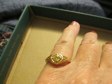 geniune citrine ring size 61/2 vintage style 925 ss 14k yg plated