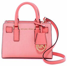Michael Kors Dillon XS Mini Top Zip Saffiano Leather Crossbody Bag PEACH/GRFRT