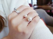 Double Oversized Faux Pearl Ring Adjustable Wedding Elegant Silver Tone