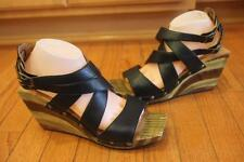 JOHN FLUEVOG Women's Black Leather Strappy Wedge Heels Size 11 (taco900