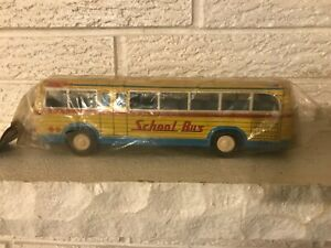 Rare VINTAGE Japanese Tin Litho Friction School Bus In original Unopened Bag