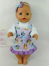 """Dolls clothes for 17"""" BABY BORN~16"""" CPK DOLL~BLUE DOG~LILAC PINAFORE~TOP~H'BOW"""