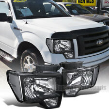 2009-2014 Ford F150 Euro Style Headlights Head Lamps Black+Clear Reflector
