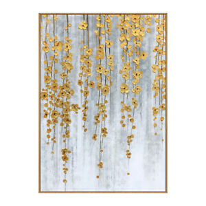 """HH140 Hand-painted oil painting on canvas Golden Flower Unframed 24""""x36"""""""