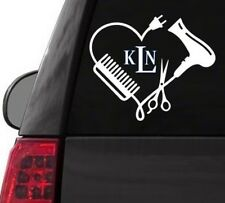I120 HAIR HEART MONOGRAM BEAUTY DRYER YETI CUP  DECAL CAR TRUCK  LAPTOP SURFACE