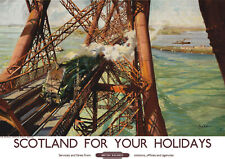 VINTAGE RAILWAY POSTER Forth Bridge Scotland Holiday by Train Advert PRINT A3 A4