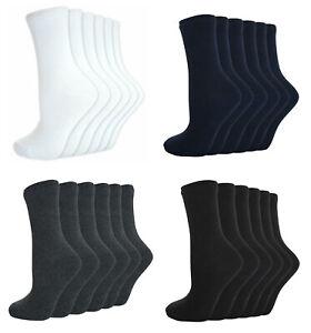 Boys Girls School Plain Short Ankle Cotton Socks Black Navy Grey White 6 Pairs