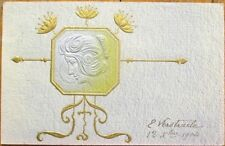 Art Nouveau 1904 Heavily-Embossed Postcard: Woman's Profile in Silver & Gold