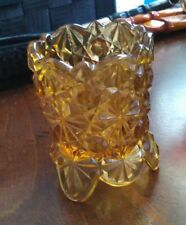 Amber Footed Toothpick Holder